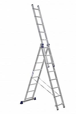 Лестница Алюмет 5308 универсальная 3-секционная 3х8 серия H3 - купить в Пскове. ТД «Вимос»